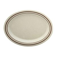 Thunder Group AD221AA 11 1/2 inch x 8 inch x 1 inch Beige Arcadia Oval Melamine Platter - 12/Case