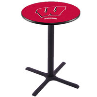 Holland Bar Stool L211B4228WISC-W 28 inch Round University of Wisconsin Bar Height Pub Table