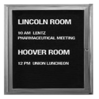 Aarco 36 inch x 36 inch Enclosed Aluminum Indoor Message Center with Black Letter Board and 3/4 inch Letters - 1 Hinged Door
