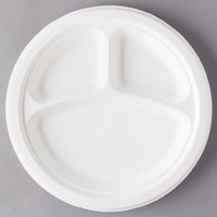 Eco Products EP-P007 10 inch Round White 3-Compartment Compostable Sugarcane Plate - 500/Case