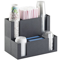 Cal-Mil 2041 Classic Black Countertop Cup and Lid Organizer with Straw Holder