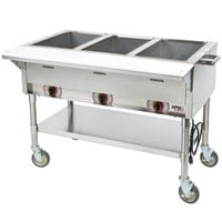 APW Wyott PST-3 Three Pan Exposed Portable Steam Table with Coated Legs and Undershelf - 1500W - Open Well, 208V