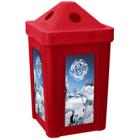 Red Stacking Pyramid Lid Recycle Bin - 48 Gallon