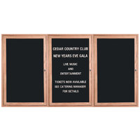 Aarco ODC3672-3L 36 inch x 72 inch Red Oak Enclosed Wooden Indoor Message Center with Black Letter Board and 3/4 inch Letters - 3 Hinged Locking Doors