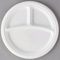 Eco Products EP-P093 9 inch Round White 3-Compartment Compostable Sugarcane Plate - 500/Case