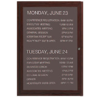 Aarco 36 inch x 24 inch Cherry-Finished Enclosed Aluminum Indoor / Outdoor Message Center with Black Letter Board and 3/4 inch Letters - 1 Hinged Locking Door