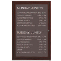 Aarco 24 inch x 18 inch Cherry-Finished Enclosed Aluminum Indoor / Outdoor Message Center with Black Letter Board and 3/4 inch Letters - 1 Hinged Locking Door