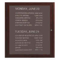 Aarco 36 inch x 30 inch Cherry-Finished Enclosed Aluminum Indoor / Outdoor Message Center with Black Letter Board and 3/4 inch Letters - 1 Hinged Locking Door