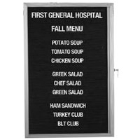 Aarco 36 inch x 30 inch Enclosed Aluminum Indoor Message Center with Black Letter Board and 3/4 inch Letters - 1 Overlapping Hinged Locking Door