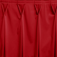 Snap Drape WYN6V17629-RED Wyndham 17' 6 inch x 29 inch Red Bow Tie Pleat Table Skirt with Velcro® Clips