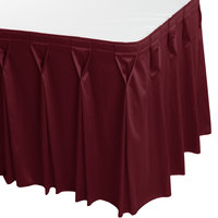 Snap Drape 5412CE29W3-046 Wyndham 13' x 29 inch Burgundy Bow Tie Pleat Table Skirt with Velcro® Clips