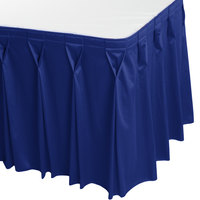 Snap Drape 5412EG29W3-572 Wyndham 17' 6 inch x 29 inch Royal Blue Bow Tie Pleat Table Skirt with Velcro® Clips