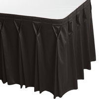 Snap Drape 5412EG29W3-512 Wyndham 17' 6 inch x 29 inch Charcoal Bow Tie Pleat Table Skirt with Velcro® Clips