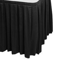 Snap Drape WYN3V1329-BLK Wyndham 13' x 29 inch Black Box Pleat Table Skirt with Velcro® Clips