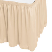 Snap Drape WYN1V1329-CRM Wyndham 13' x 29 inch Cream Shirred Pleat Table Skirt with Velcro® Clips