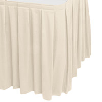 Snap Drape WYN3V17629-BNE Wyndham 17' 6 inch x 29 inch Bone Box Pleat Table Skirt with Velcro® Clips
