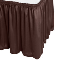 Snap Drape WYN1V21629-BRN Wyndham 21' 6 inch x 29 inch Brown Shirred Pleat Table Skirt with Velcro® Clips