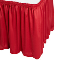 Snap Drape WYN1V21629-RED Wyndham 21' 6 inch x 29 inch Red Shirred Pleat Table Skirt with Velcro® Clips