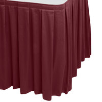 Snap Drape 5412EG29B3-046 Wyndham 17' 6 inch x 29 inch Burgundy Box Pleat Table Skirt with Velcro® Clips