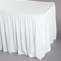 Snap Drape WYN1V1329-WHT Wyndham 13' x 29 inch White Shirred Pleat Table Skirt with Velcro® Clips