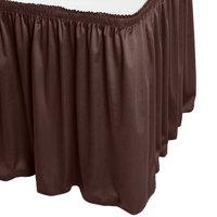Snap Drape WYN1V1329-BRN Wyndham 13' x 29 inch Brown Shirred Pleat Table Skirt with Velcro® Clips