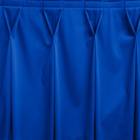 Snap Drape WYN6V1329-RBLU Wyndham 13' x 29 inch Royal Blue Bow Tie Pleat Table Skirt with Velcro® Clips