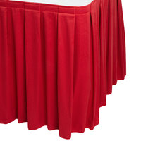 Snap Drape WYN3V1329-RED Wyndham 13' x 29 inch Red Box Pleat Table Skirt with Velcro® Clips