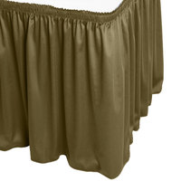 Snap Drape WYN1V1329-OLV Wyndham 13' x 29 inch Olive Shirred Pleat Table Skirt with Velcro® Clips