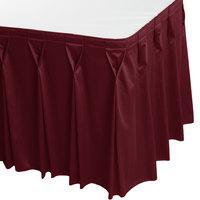 Snap Drape 5412EG29W3-046 Wyndham 17' 6 inch x 29 inch Burgundy Bow Tie Pleat Table Skirt with Velcro® Clips