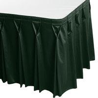 Snap Drape 5412EG29W3-739 Wyndham 17' 6 inch x 29 inch Jade Bow Tie Pleat Table Skirt with Velcro® Clips