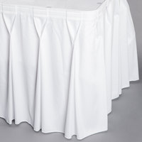 Snap Drape WYN6V1329-WHT Wyndham 13' x 29 inch White Bow Tie Pleat Table Skirt with Velcro® Clips