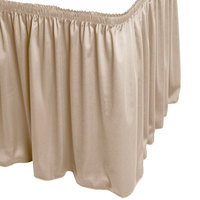 Snap Drape WYN1V1329-BG Wyndham 13' x 29 inch Beige Shirred Pleat Table Skirt with Velcro® Clips