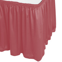 Snap Drape WYN1V1329-ROS Wyndham 13' x 29 inch Rosewood Shirred Pleat Table Skirt with Velcro® Clips