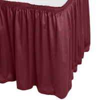 Snap Drape WYN1V21629-BURG Wyndham 21' 6 inch x 29 inch Burgundy Shirred Pleat Table Skirt with Velcro® Clips