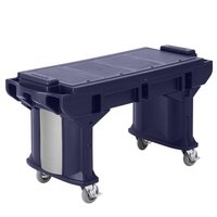 Cambro VBRTLHD6186 Navy Blue 6' Versa Work Table with Heavy Duty Casters - Low Height