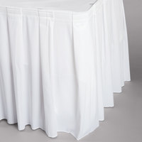 Snap Drape WYN3V1329-WHT Wyndham 13' x 29 inch White Box Pleat Table Skirt with Velcro® Clips