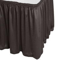 Snap Drape WYN1V17629-CHAR Wyndham 17' 6 inch x 29 inch Charcoal Shirred Pleat Table Skirt with Velcro® Clips