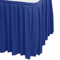 Snap Drape WYN3V1329-RBLU Wyndham 13' x 29 inch Royal Blue Box Pleat Table Skirt with Velcro® Clips