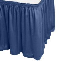 Snap Drape WYN1V1329-DBLU Wyndham 13' x 29 inch Dark Blue Shirred Pleat Table Skirt with Velcro® Clips
