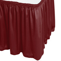 Snap Drape WYN1V1329-WIN Wyndham 13' x 29 inch Wine Shirred Pleat Table Skirt with Velcro® Clips