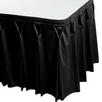 Snap Drape 5412CE29W3-014 Wyndham 13' x 29 inch Black Bow Tie Pleat Table Skirt with Velcro® Clips