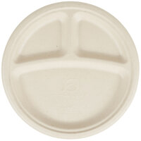 Eco Products EP-PW103 10 inch Round Wheat Straw Compostable 3-Compartment Plate   - 500/Case