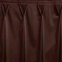 Snap Drape WYN6V1329-BRN Wyndham 13' x 29 inch Brown Bow Tie Pleat Table Skirt with Velcro® Clips
