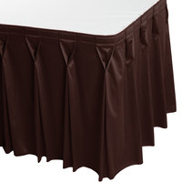 Snap Drape 5412CE29W3-005 Wyndham 13' x 29 inch Brown Bow Tie Pleat Table Skirt with Velcro® Clips