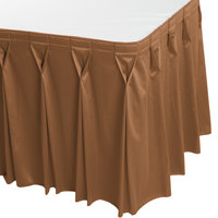 Snap Drape 5412CE29W3-712 Wyndham 13' x 29 inch Butterscotch Bow Tie Pleat Table Skirt with Velcro® Clips
