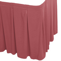 Snap Drape WYN5V1329-ROS Wyndham 13' x 29 inch Rosewood Continuous Pleat Table Skirt with Velcro® Clips