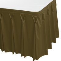 Snap Drape WYN6V1329-OLV Wyndham 13' x 29 inch Olive Bow Tie Pleat Table Skirt with Velcro® Clips