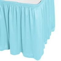 Snap Drape WYN1V1329-LBLU Wyndham 13' x 29 inch Light Blue Shirred Pleat Table Skirt with Velcro® Clips