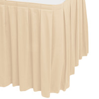 Snap Drape WYN3V1329-CRM Wyndham 13' x 29 inch Cream Box Pleat Table Skirt with Velcro® Clips