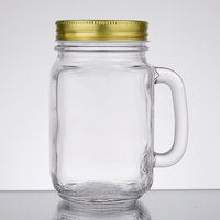Core 16 oz. Mason Jar / Drinking Jar with Handle and Gold Metal Lid - 12/Case